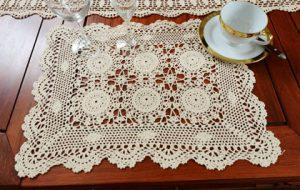 """crochet placemats, crochet ecru color placemats 14x20"""" placemats"""