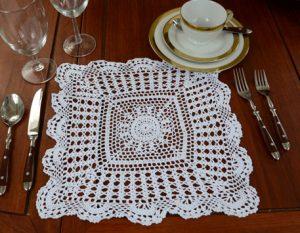 crochet square doilies.