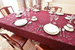 crochet tablecloths, burgundy crochet tablecloths.