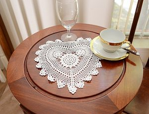 crochet heart 11 inches. White color