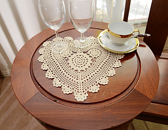 "crochet heart 12"" ecru color"