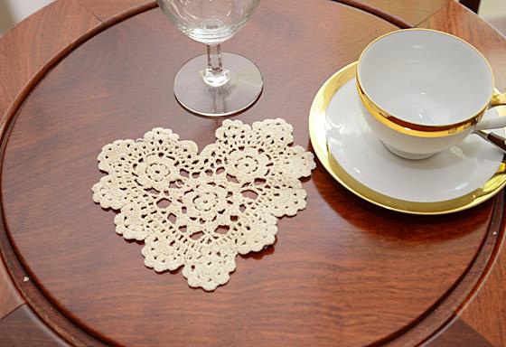 """crochet heart doilies, ecru color crochet doilies, crochet doilies 6"""" ecru color"""