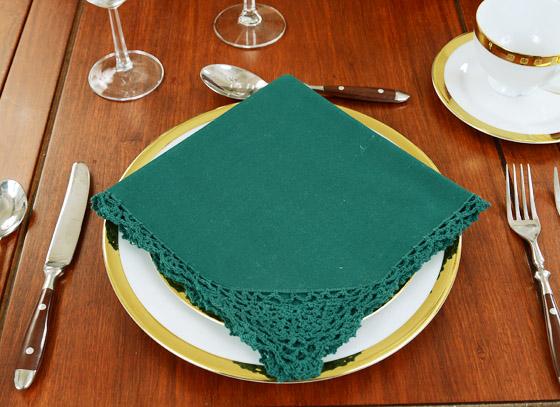 Festive Everygreen color crochet napkins, napkins, crochet napkins