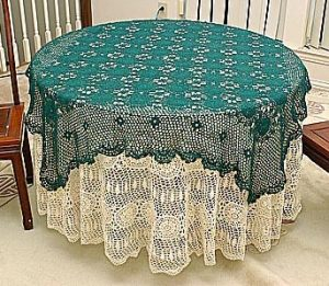 Festive crochet square tablecloths, crochet round hunter green color