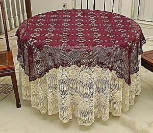 "Square Crochet Tablecloth. 54"" Square. Wine-Rhododendron color."