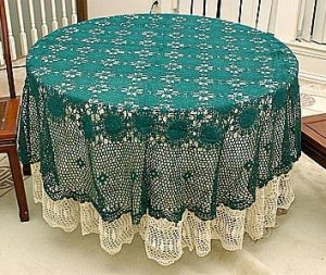 "Festive EveryGreen Crochet Tablecloth. 70"" Round."