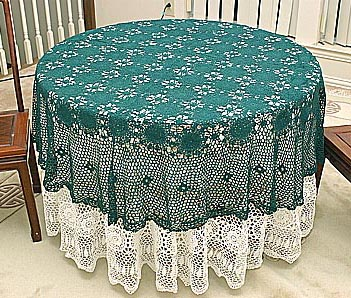 crochet round tablecloths, crochet 72 in round, crochet hunter green color
