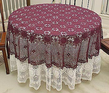 Festive Round Crochet tablecloth. Wine Rhododendron color