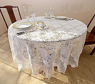 crochet tablecloths, crochet round tablecloths, crochet 90 in.round, crochet 108in round