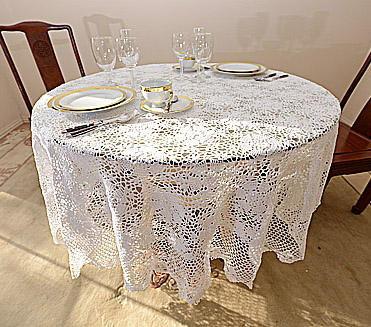 """crochet round tablecloths, crochet 90 in.round, crochet 108""""round tablecloth."""