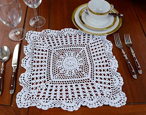 Granny Square crochet lace, crochet, crochet square placemats, crochet placemat.