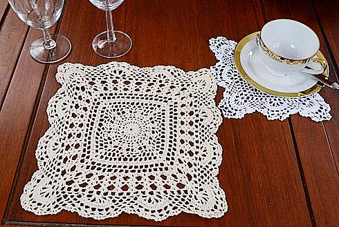 Granny square crochet, crochet square, crochet doily 10 inches. crochet ecru color.
