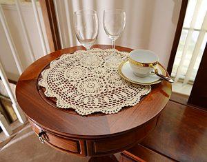 crochet round placemats, crochet ecru color, crochet lace, crochet