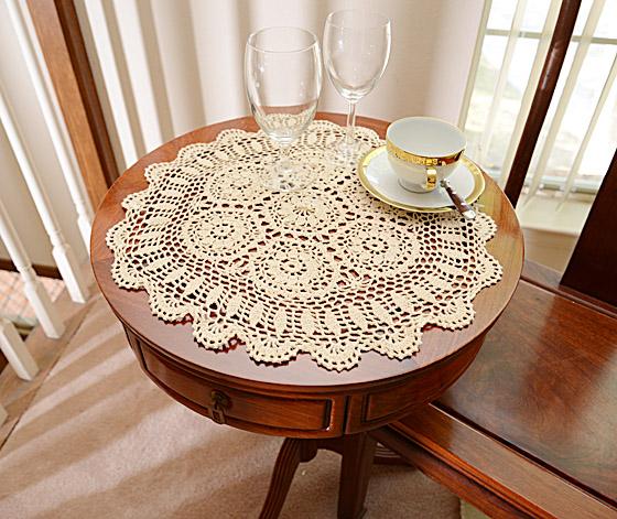 "18"" Round Crochet Table Topper."