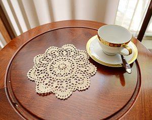 crochet round doily, crochet round ecru color