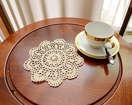 """Round Crochet Doilies. 8"""" Round. Wheat Color"""