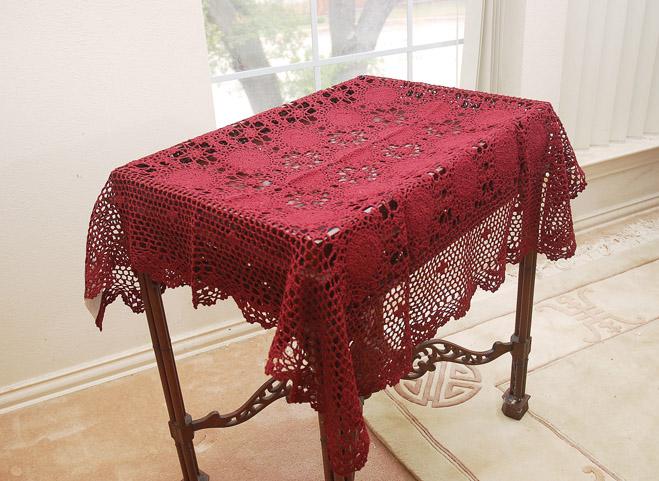 """Crochet Square 36""""Square Topper. Burgundy Crochet"""