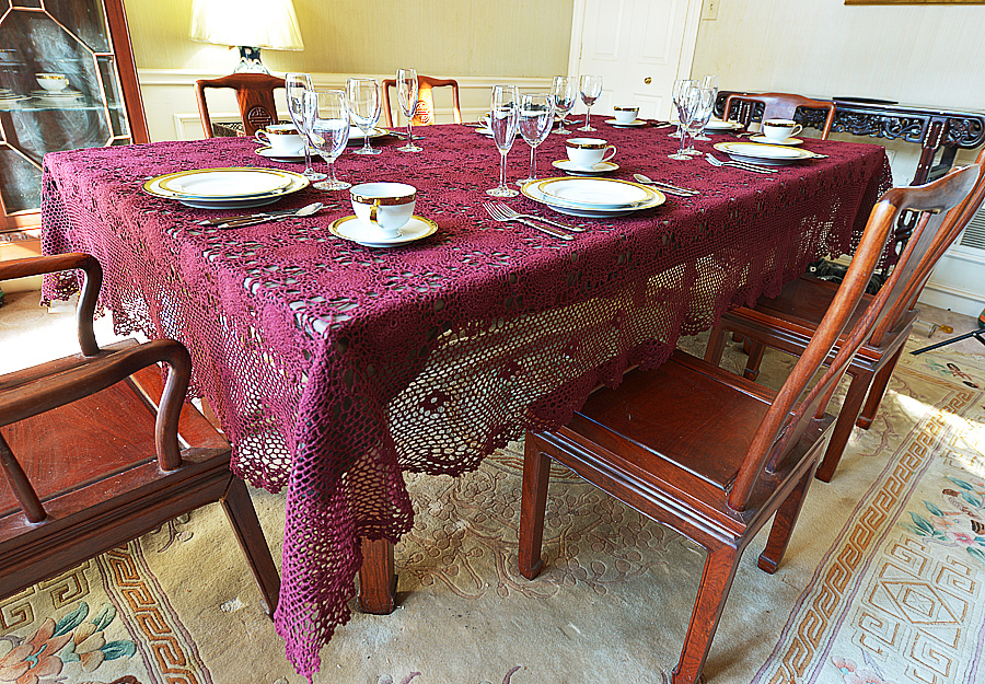 Festive burgundy crochet tablecloth, burgundy crochet tablecloth