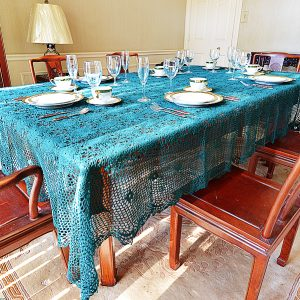 Festive Every-Green Colored Crochet Tablecloth.