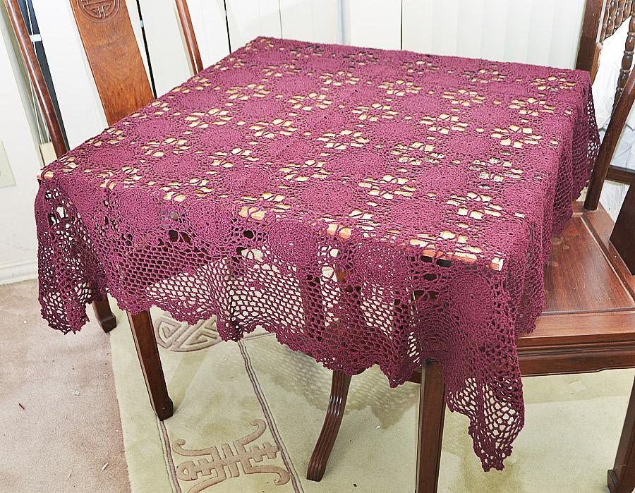 """Festive Crochet Square tablecloth. 45""""Square."""