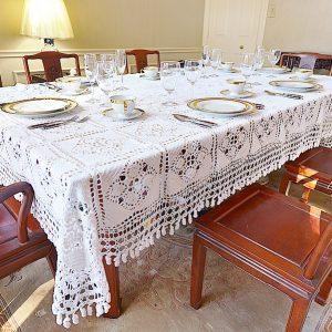 Granny Square White Crochet Tablecloths