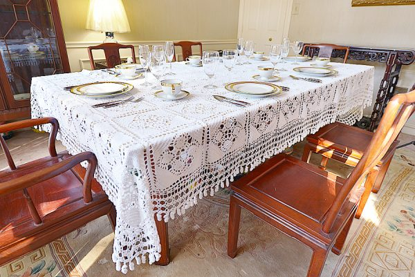 Granny Squae & Blocks Crochet tablecloth.