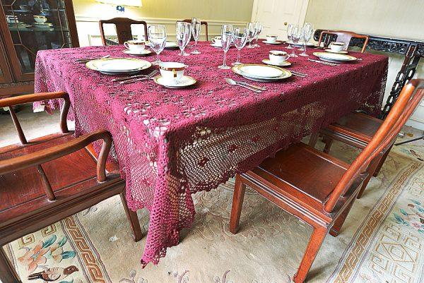 festive merlot wine colored crochet tablecloth