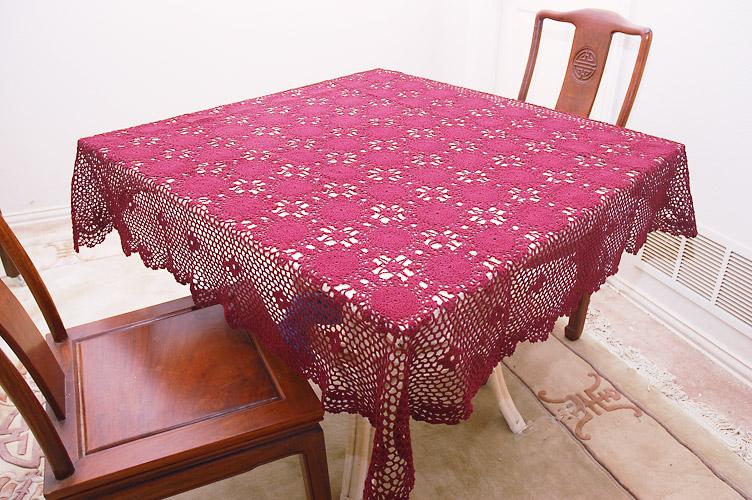 """Festive Crochet Square Tablecloth. 54""""Square"""