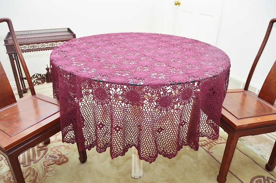 "Festive Round Crochet Tablecloth. 70"" Round"