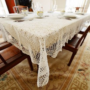 Extra Long (152″) White Crochet Tablecloths