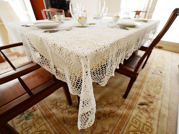 crochet dining tablecloth, crochet tablecloth, crochet rectangular tablecloth