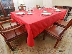 Red 70x140 Tablecloth. Hemstitch