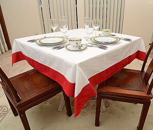 Square Tablecloth in Red colored trimmed
