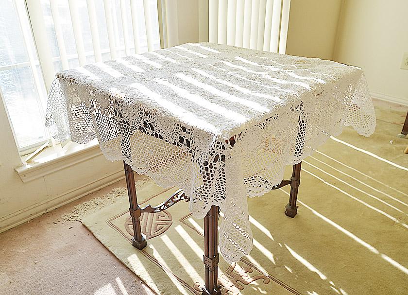 White Crochet Square Tablecloth