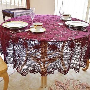 Festive Merlot Wine Crochet round tablecloth