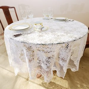 Extra Large 103″ Round Crochet Tablecloths