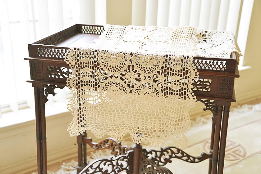 Wheat color crochet table runner